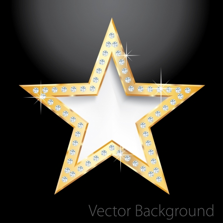 show bussiness: golden star on black with diamond screws,template for cosmetics, show business or something else