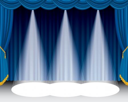 ツリーのスポット ライトとブルー ステージ 写真素材 - 16555511
