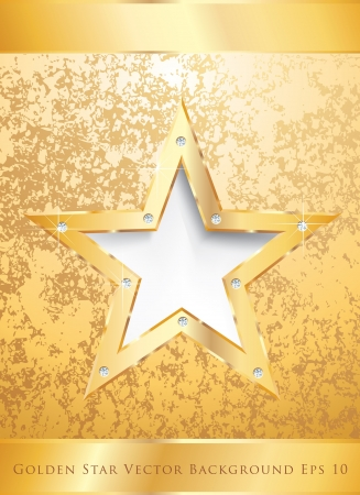 golden star on golden plate with diamond screws Vector