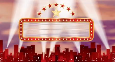 rouge horizontale panneau blanc sur la ville Vecteurs