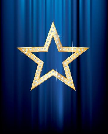terciopelo azul: estrella de oro con diamantes transparentes en cortina azul Vectores