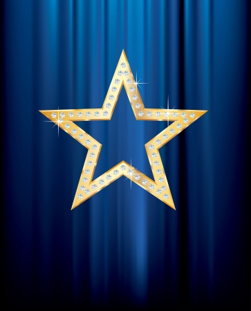 transparent golden star with diamonds on blue curtain Stock Vector - 16555486