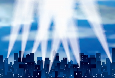 vector city silhouette with spotlights