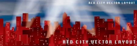 vector red city silhouette with spotlights Vector