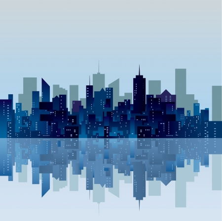 sea scape: vector blue city silhouette  Illustration