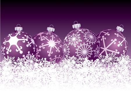 vector purple balls in snow Stock Vector - 16617685