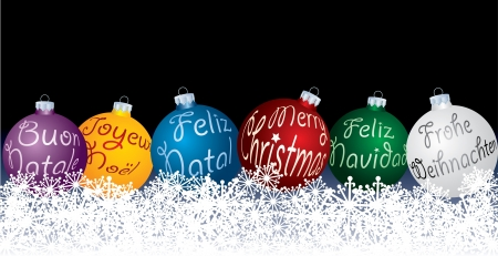 french text: vector blue Christmas balls in six languages