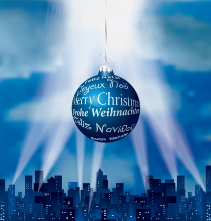 vector blue city silhouette with big blue Christmas ball in six languages Vector