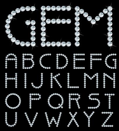 diamond letter: alfabeto vettore con diamanti Vettoriali