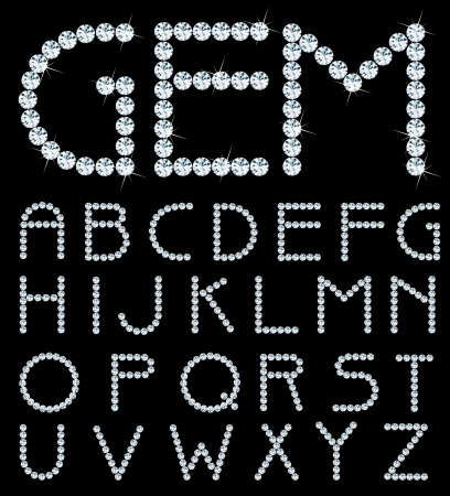 diamond letters: vector alphabet with diamonds Illustration