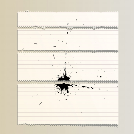 corded: vector perforated striped torn paper with black splash