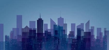 촉각 근: 파란색과 보라색의 추상적 인 도시를 벡터 일러스트