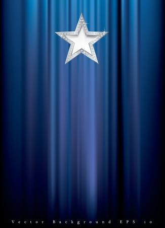 terciopelo azul: estrella de plata con diamantes en cortina azul