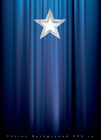 silver star with diamonds on blue curtain Stock Vector - 16749186