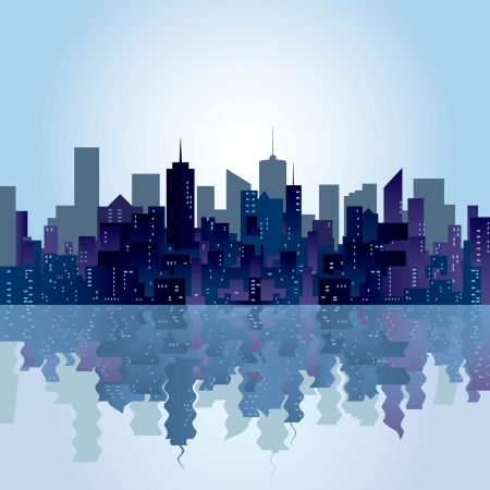 city skyline night: vector city skylines with reflection in water