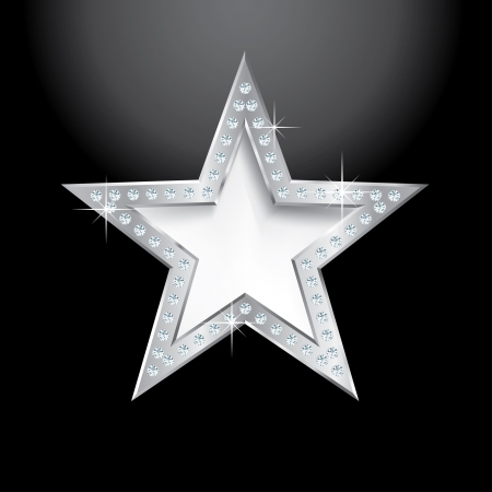 show bussiness: silver star on black with diamond screws, illustration template for cosmetics, show business or something else