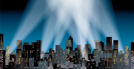 modern city silhouette with spotlights Stock Vector - 16820347