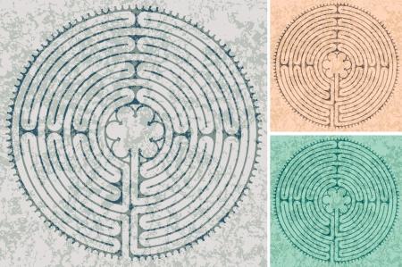 labyrint in de kathedraal van Chartres in drie kleurvariaties