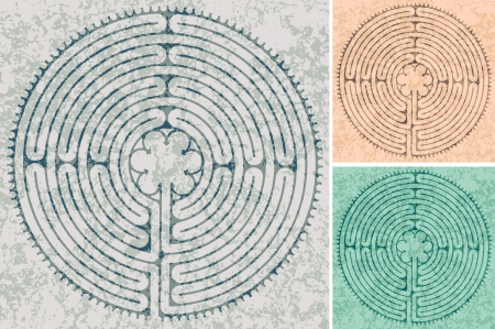 labyrinth: maze in Cathedral in Chartres in three color variations