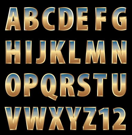 3d golden alphabet with sky reflection Vector