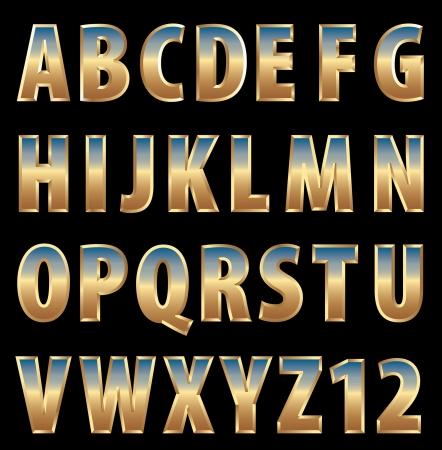 metaal: 3d gouden alfabet met hemel reflectie