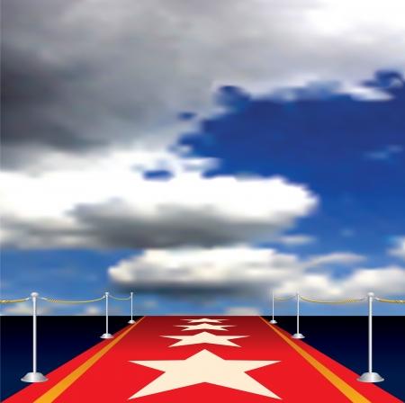 symbolically: illustration of red carpet with stars Illustration