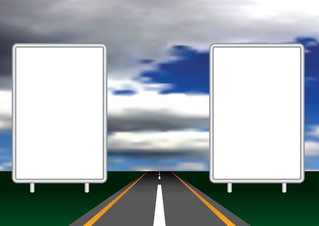 open road: vector illustration with two blank billboards on open road