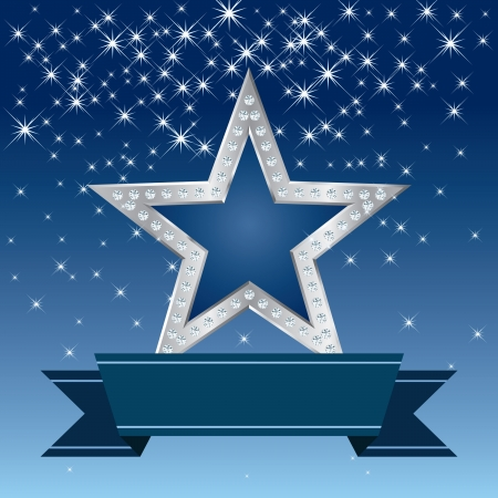 silver star with diamonds in the starry night Vector