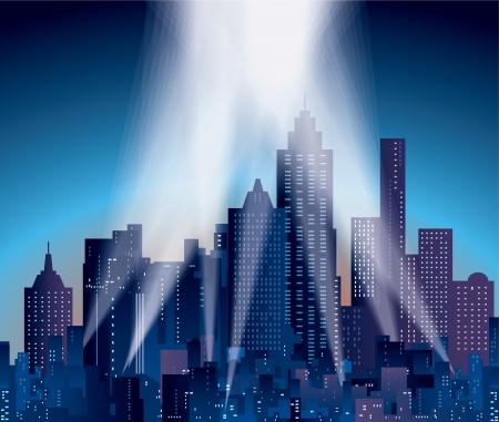 ciel rouge: ville moderne avec des gratte-ciel et des projecteurs Illustration
