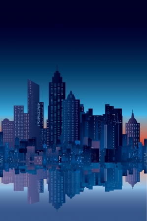new york at night: abstract city silhouette with reflection in watter