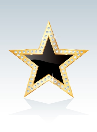 show bussiness: black golden star with diamond screws Illustration