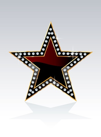show bussiness: black golden star with diamond screws Illustration
