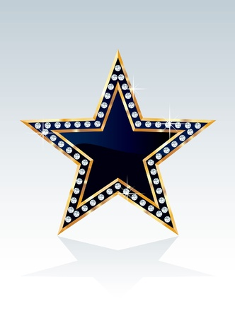 dark blue golden star with diamonds Vector