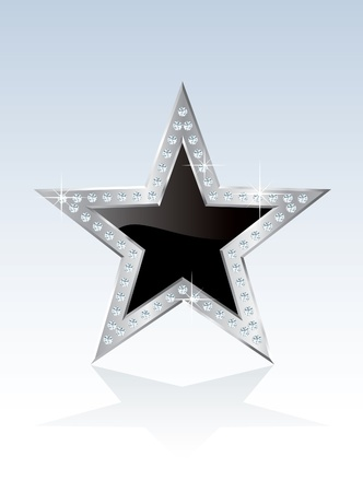 black opal star with silver frame and diamond screws Vector