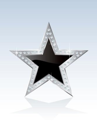 joyas de plata: �palo negro estrella con marco de plata y tornillos de diamante