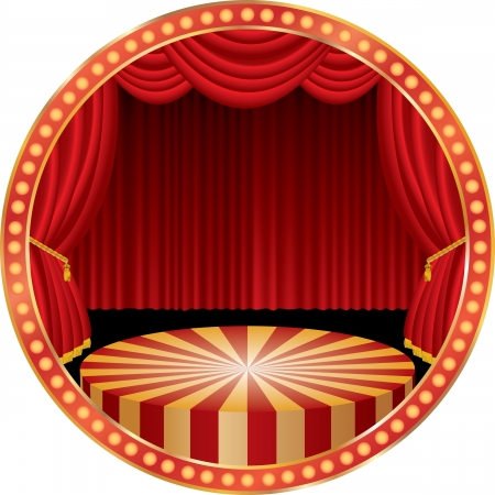 circle circus stage with red curtain