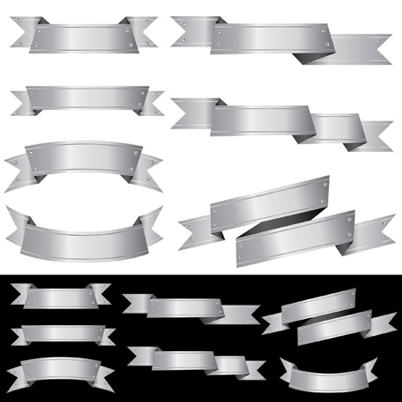 engraved image: set of vector blank metal banners with screws