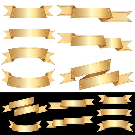 nameplate: set of vector blank golden banners with screws