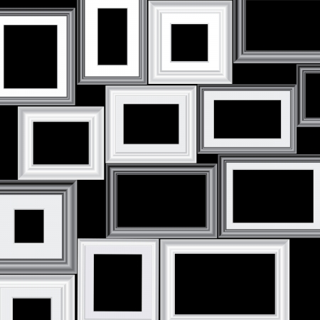 set of vector black and white different frames, background is in separate layer and you can easy to remove them and put your own images Stock Vector - 17105429