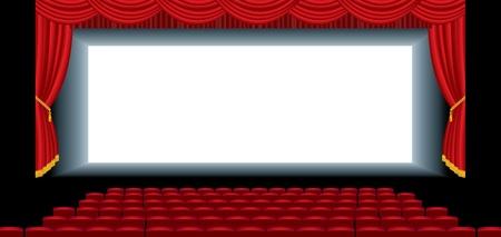 sipario chiuso: illustrazione vettoriale del cinema auditorium vuoto