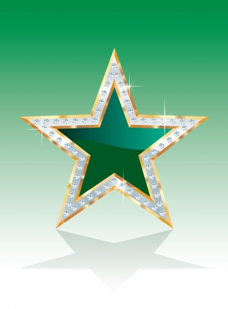 show bussiness: vector green golden star with diamonds