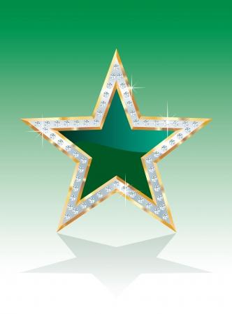 silver texture: vector green golden star with diamonds
