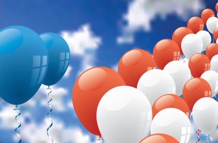 inaugural: vector patriotic background with balloons over cloudy sky