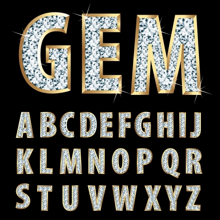 letras de oro: alfabeto de oro con diamantes Vectores