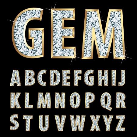 letras doradas: alfabeto de oro con diamantes Vectores