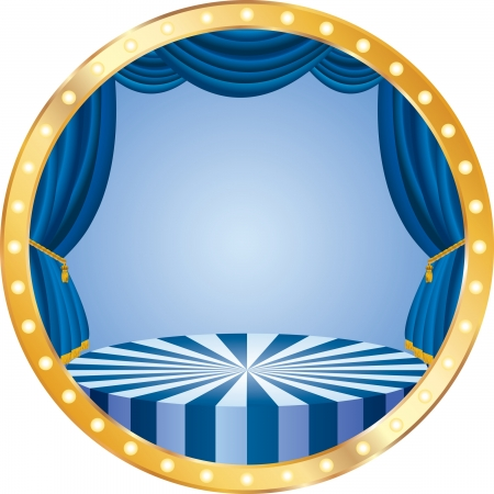 circus stage:  circle circus stage with blue curtain Illustration
