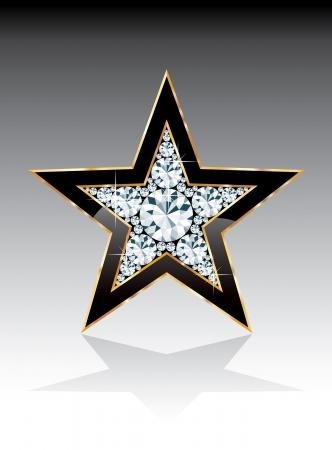 opal: dark black golden star with diamonds,  template for cosmetics, show business or something else
