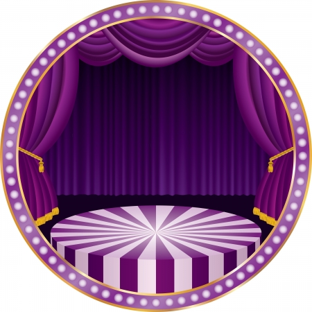 vector circle circus stage with purple curtain Vector