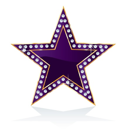 dark purple golden star with diamond screws Vector