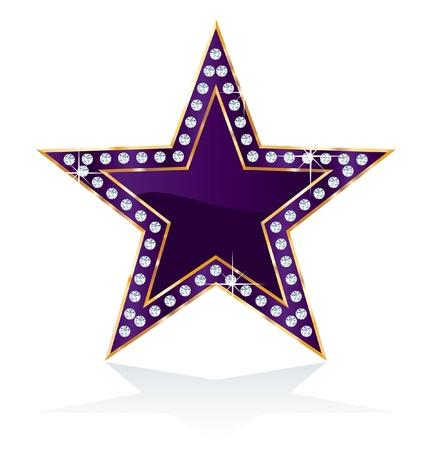 show bussiness: dark purple golden star with diamond screws